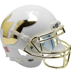 University of South Florida Bulls White with Gold Chrome Mask XP Helmet